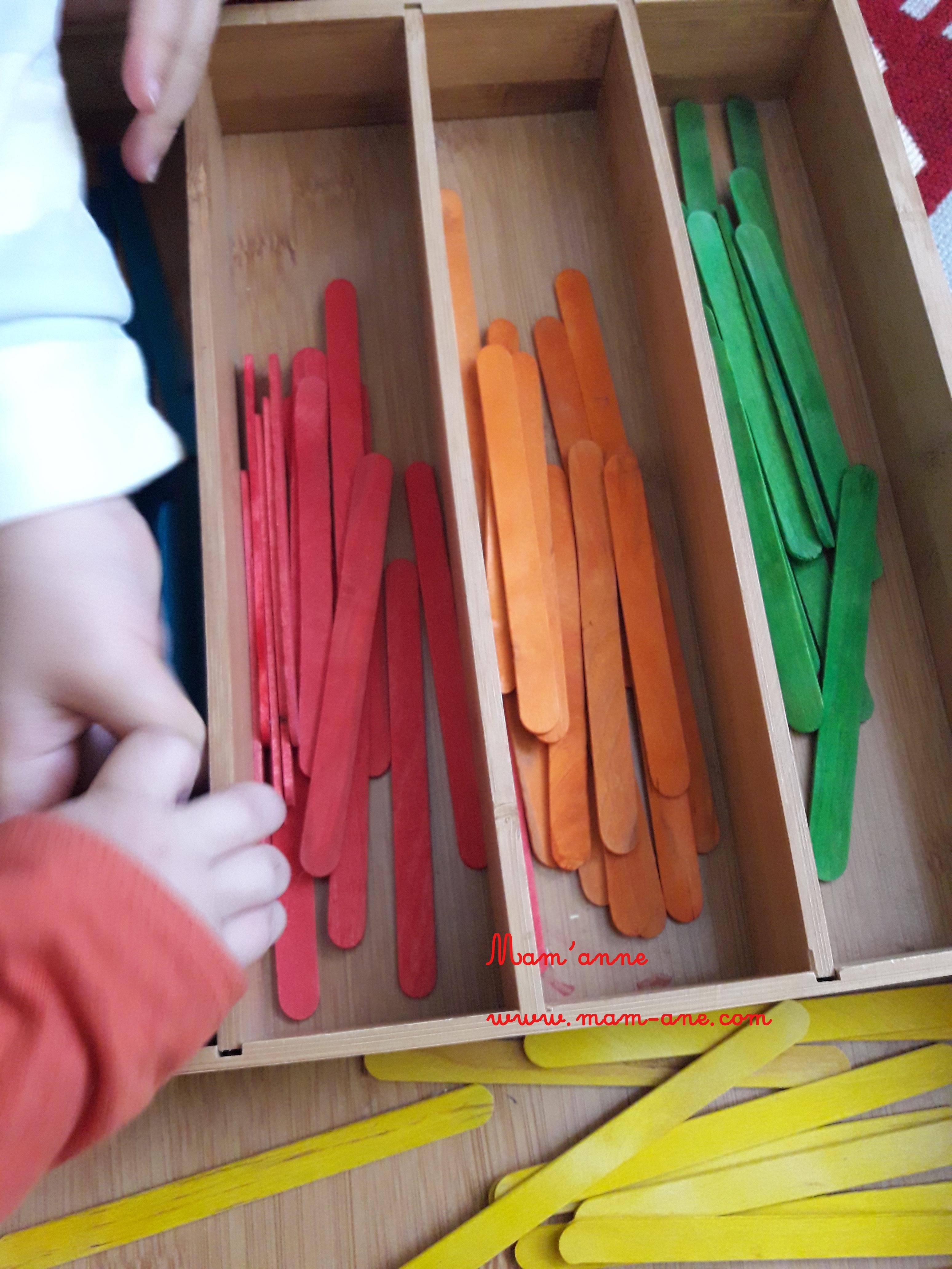 Activité tri couleurs inspiration montessori batonnet